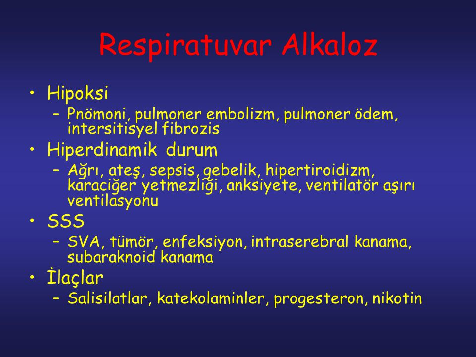 Respiratuvar Alkaloz Hipoksi Hiperdinamik durum SSS İlaçlar