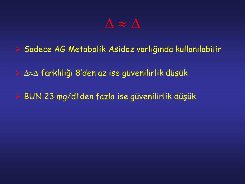    Sadece AG Metabolik Asidoz varlığında kullanılabilir