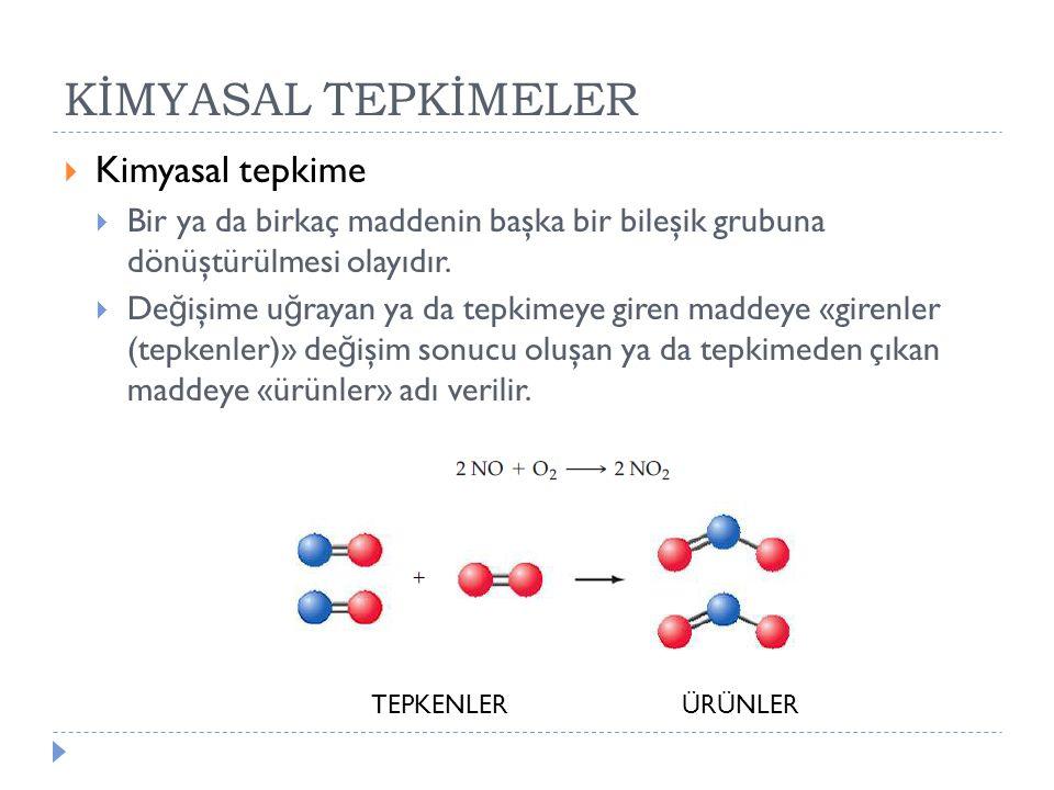KİMYASAL TEPKİMELER Kimyasal tepkime