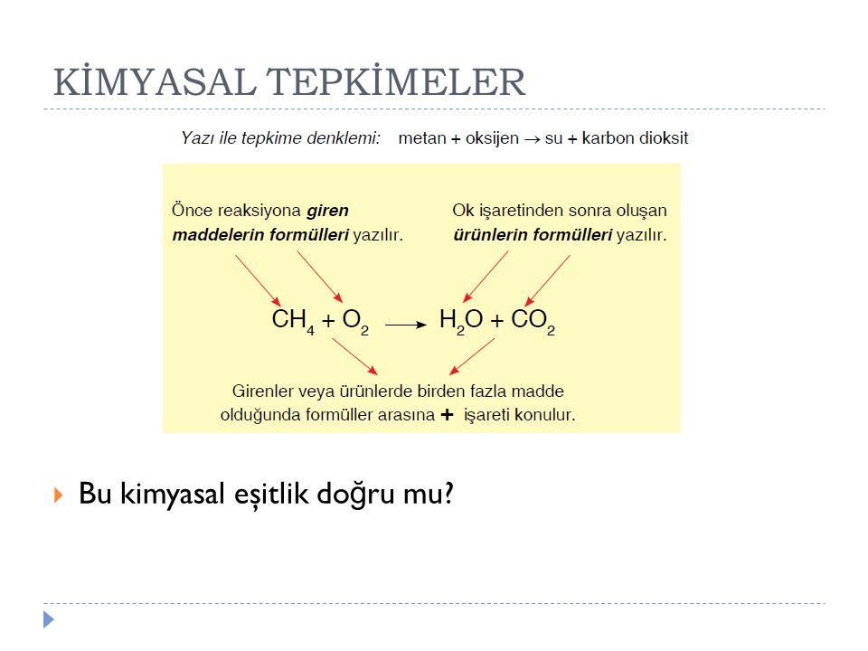 KİMYASAL TEPKİMELER Bu kimyasal eşitlik doğru mu