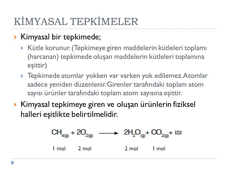 KİMYASAL TEPKİMELER Kimyasal bir tepkimede;