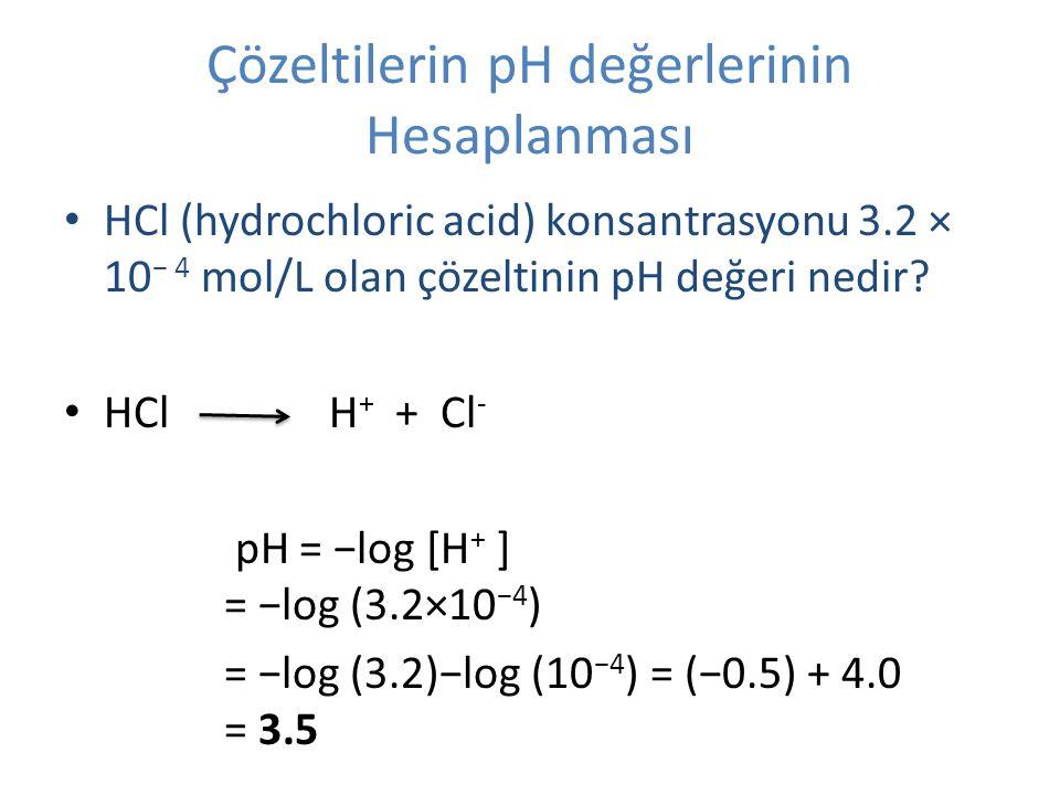 Çözeltilerin pH değerlerinin Hesaplanması