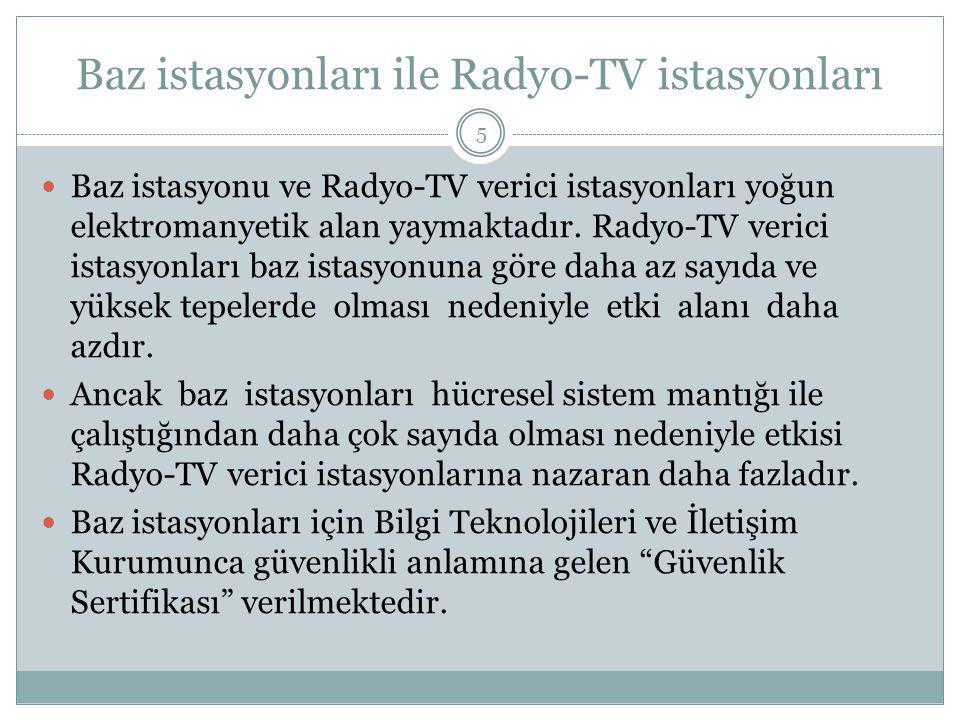 Baz istasyonları ile Radyo-TV istasyonları