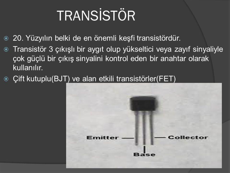 TRANSİSTÖR 20. Yüzyılın belki de en önemli keşfi transistördür.