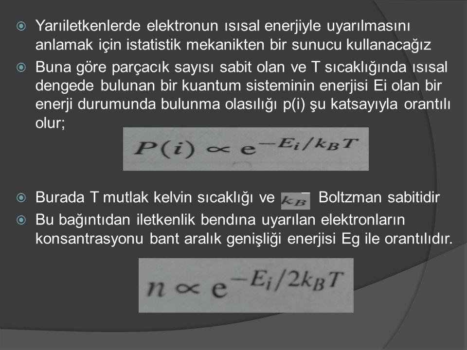 Yarıiletkenlerde elektronun ısısal enerjiyle uyarılmasını anlamak için istatistik mekanikten bir sunucu kullanacağız
