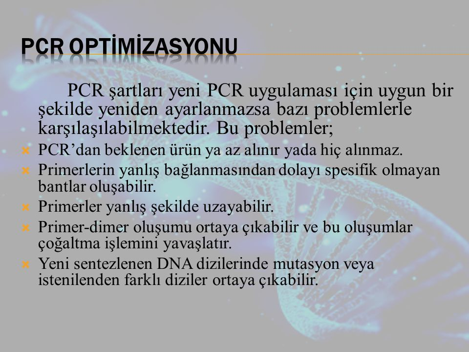 PCR OPTİMİZASYONU