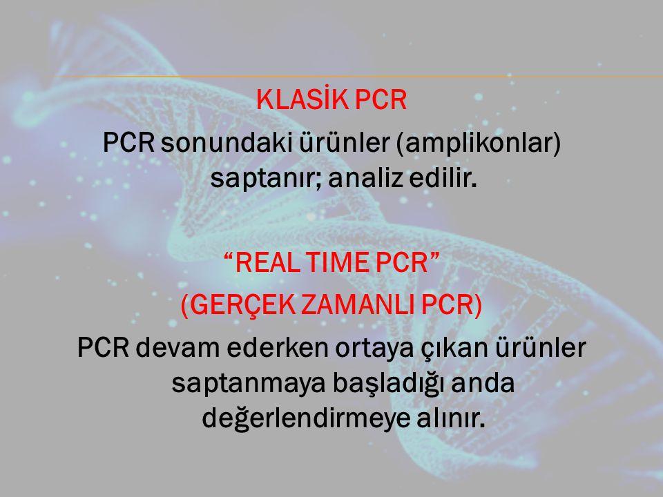 PCR sonundaki ürünler (amplikonlar) saptanır; analiz edilir.