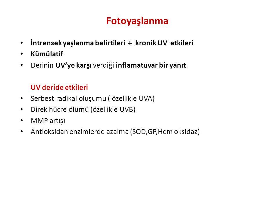 Fotoyaşlanma İntrensek yaşlanma belirtileri + kronik UV etkileri