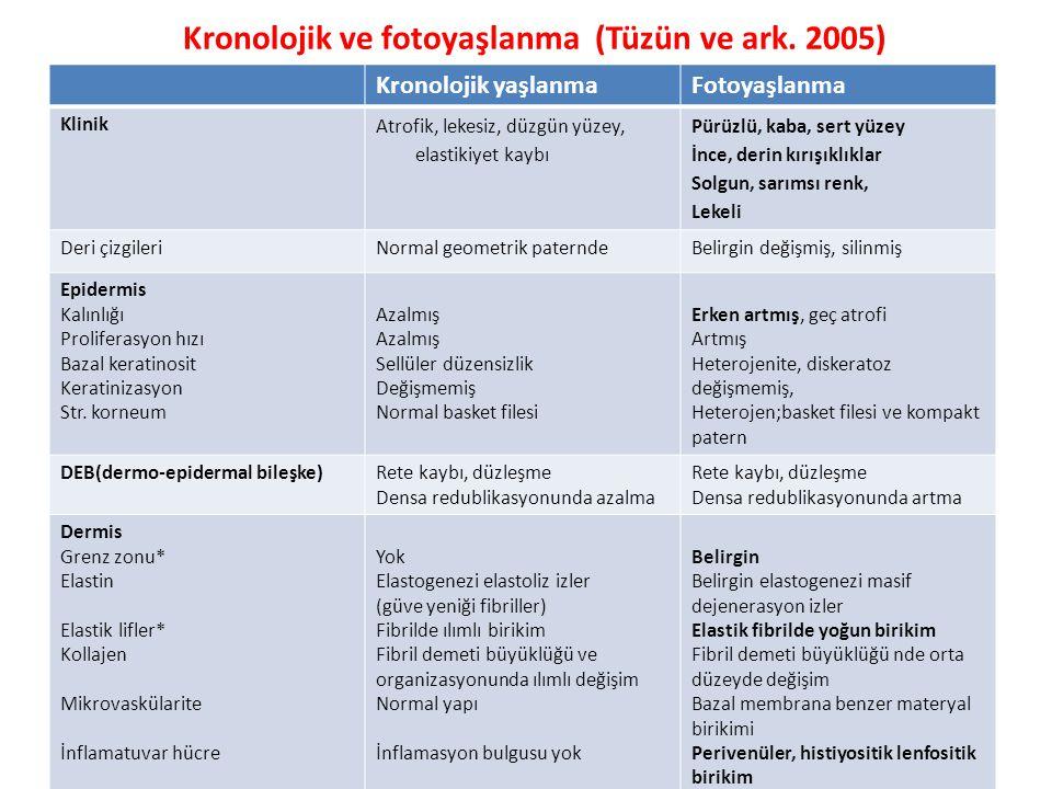 Kronolojik ve fotoyaşlanma (Tüzün ve ark. 2005)