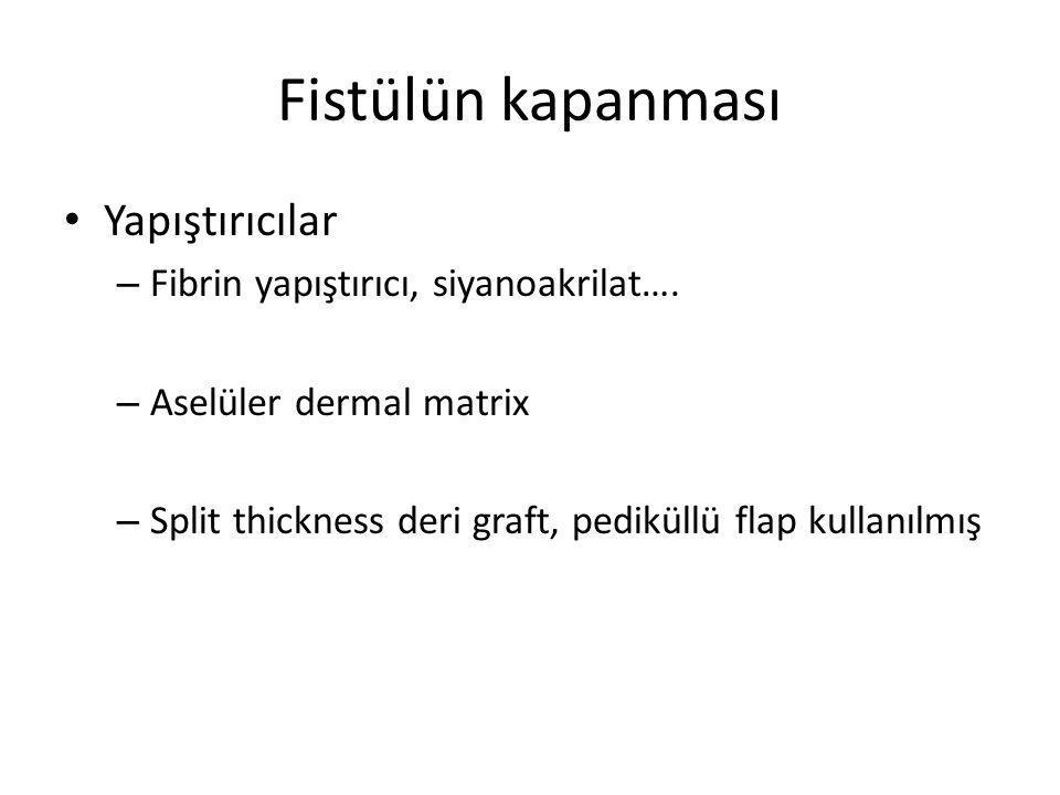 Fistülün kapanması Yapıştırıcılar Fibrin yapıştırıcı, siyanoakrilat….
