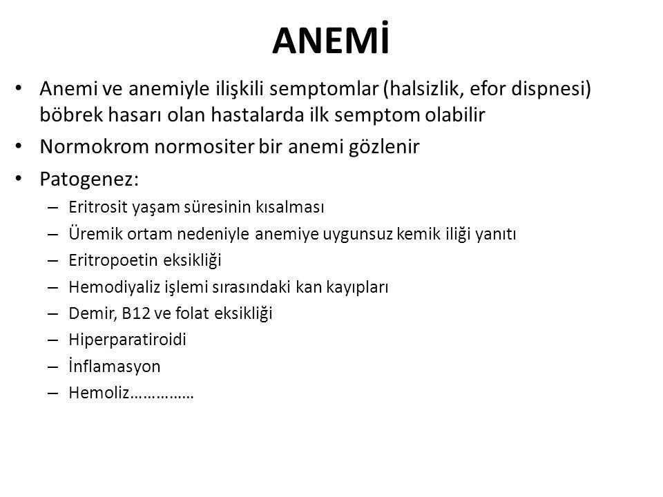 ANEMİ Anemi ve anemiyle ilişkili semptomlar (halsizlik, efor dispnesi) böbrek hasarı olan hastalarda ilk semptom olabilir.