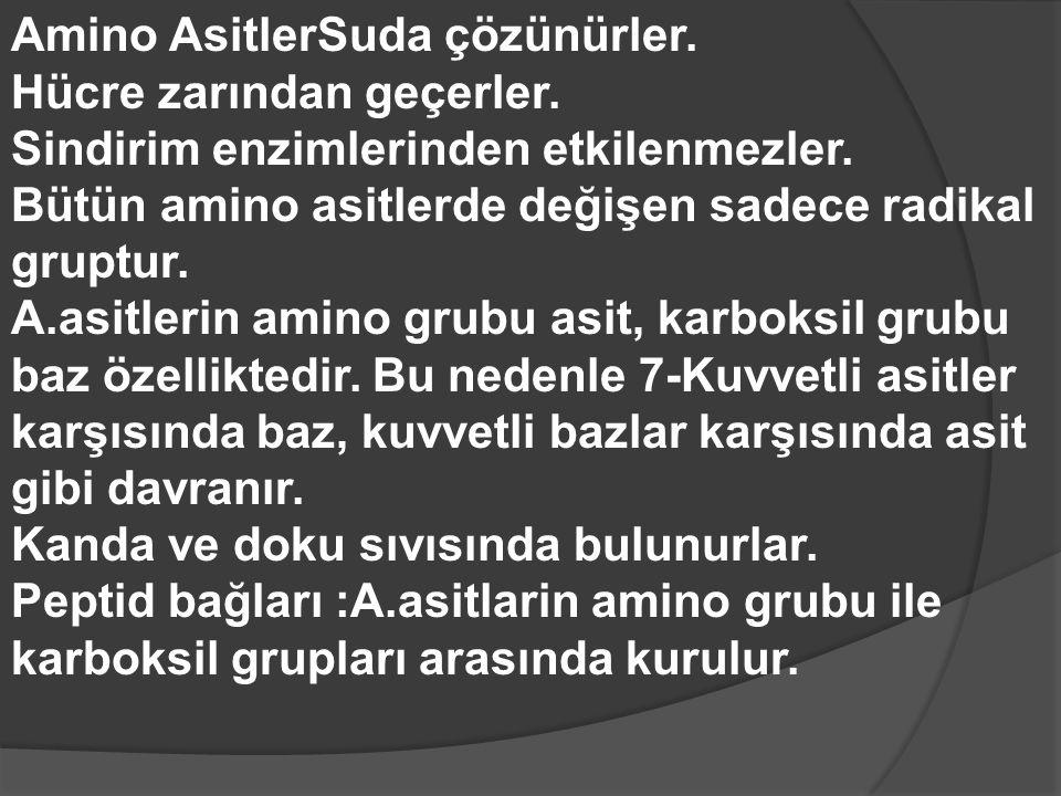 Amino AsitlerSuda çözünürler.