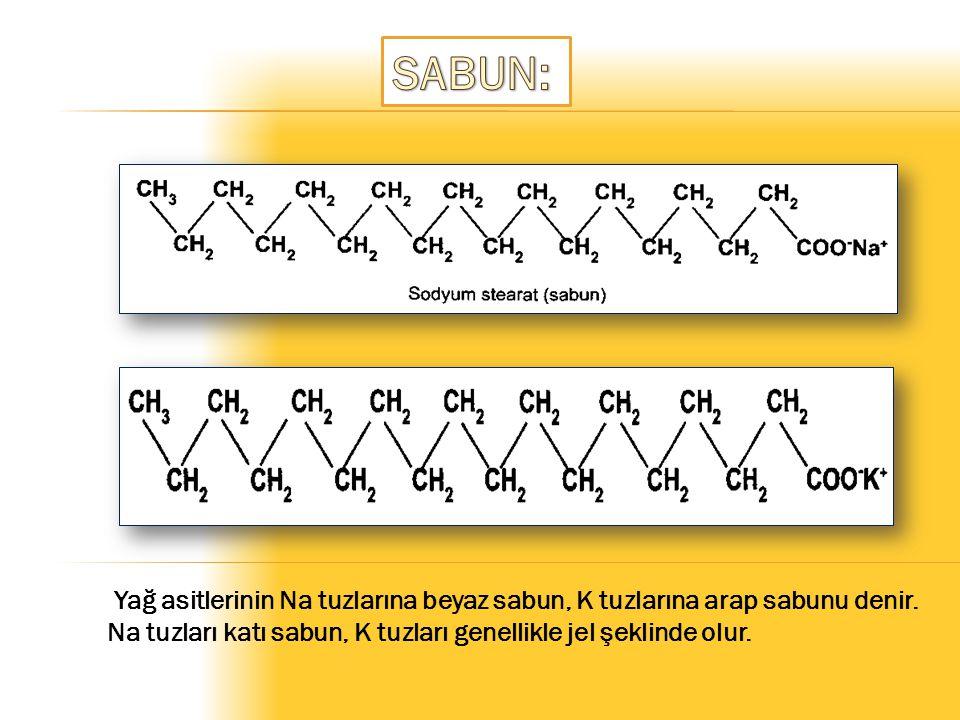 SABUN: Yağ asitlerinin Na tuzlarına beyaz sabun, K tuzlarına arap sabunu denir.