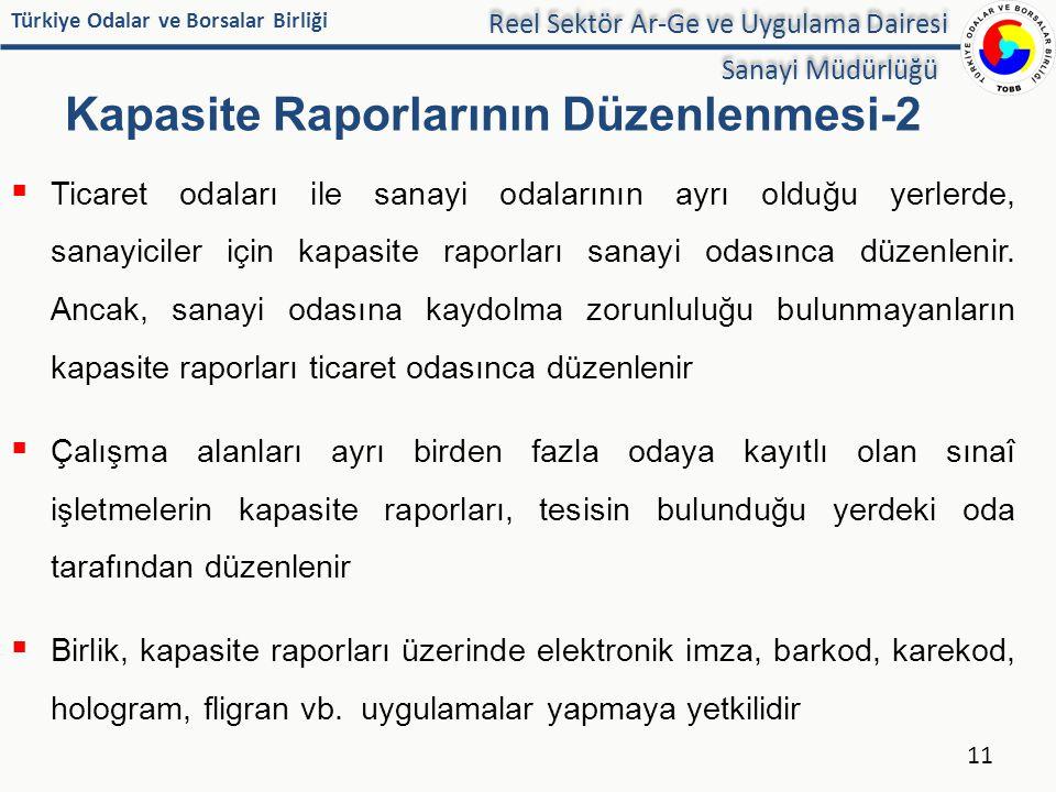 Kapasite Raporlarının Düzenlenmesi-2
