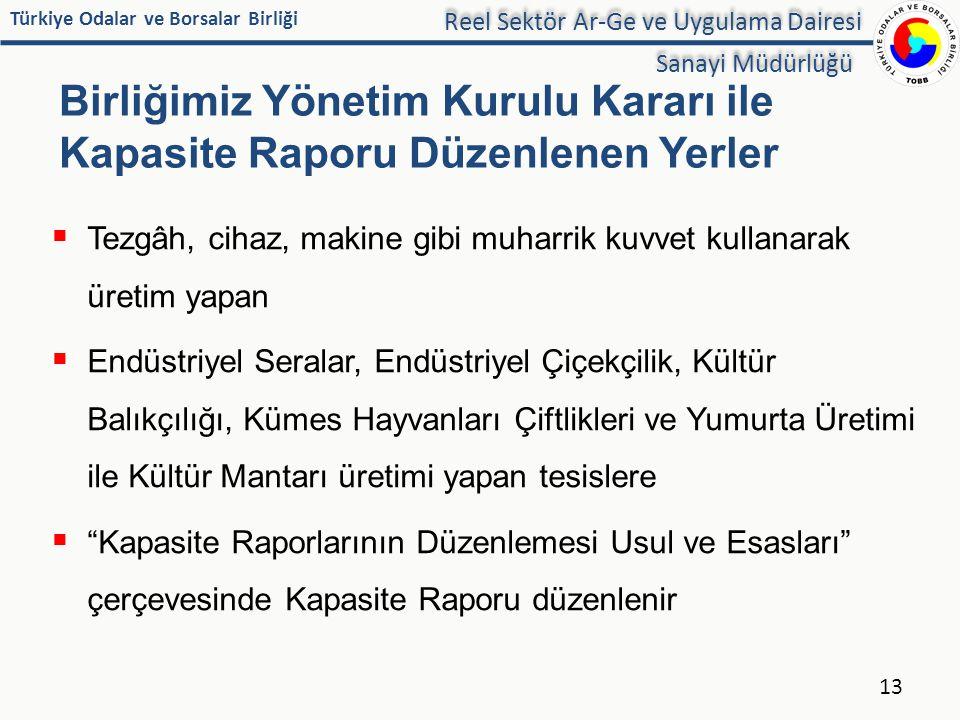 Birliğimiz Yönetim Kurulu Kararı ile Kapasite Raporu Düzenlenen Yerler