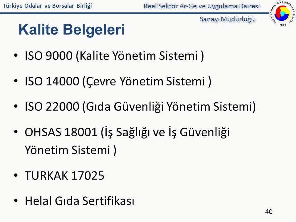 ISO 9000 (Kalite Yönetim Sistemi ) ISO 14000 (Çevre Yönetim Sistemi )