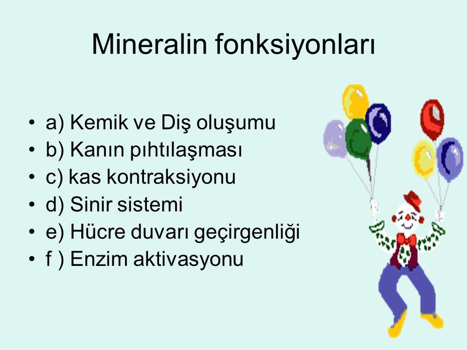 Mineralin fonksiyonları