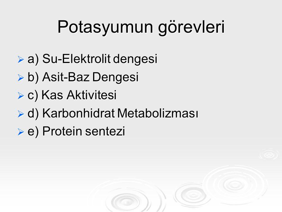 Potasyumun görevleri a) Su-Elektrolit dengesi b) Asit-Baz Dengesi