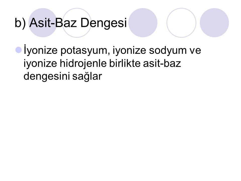 b) Asit-Baz Dengesi İyonize potasyum, iyonize sodyum ve iyonize hidrojenle birlikte asit-baz dengesini sağlar.