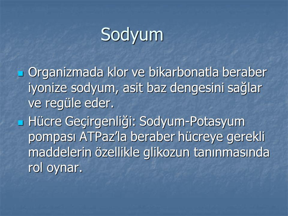 Sodyum Organizmada klor ve bikarbonatla beraber iyonize sodyum, asit baz dengesini sağlar ve regüle eder.