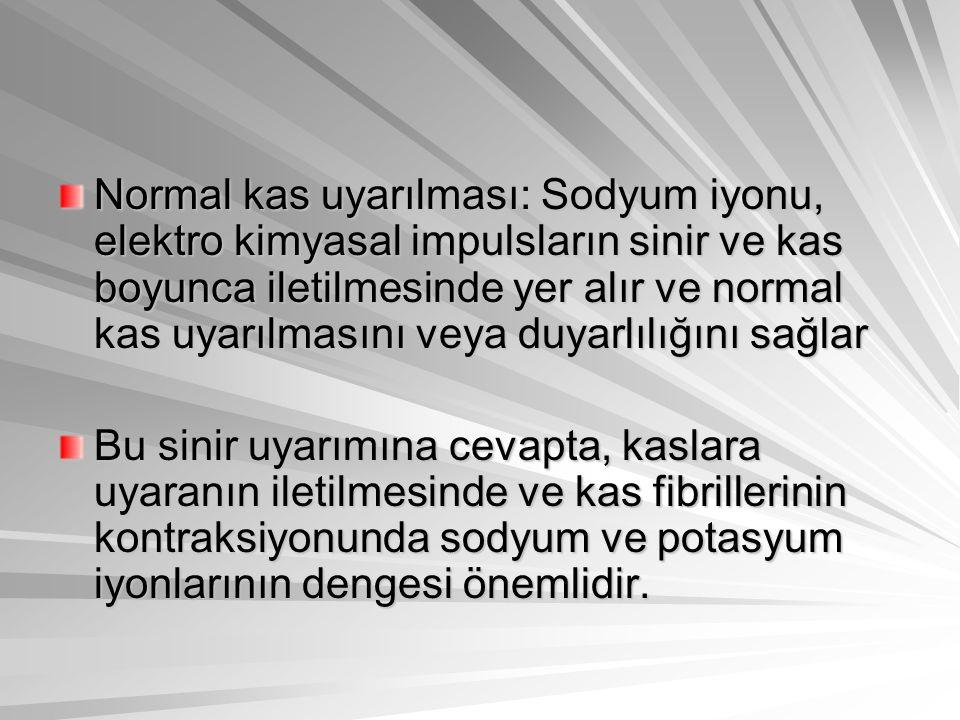 Normal kas uyarılması: Sodyum iyonu, elektro kimyasal impulsların sinir ve kas boyunca iletilmesinde yer alır ve normal kas uyarılmasını veya duyarlılığını sağlar