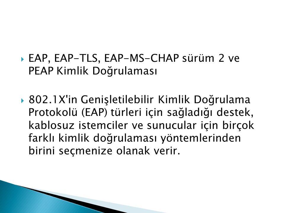EAP, EAP-TLS, EAP-MS-CHAP sürüm 2 ve PEAP Kimlik Doğrulaması