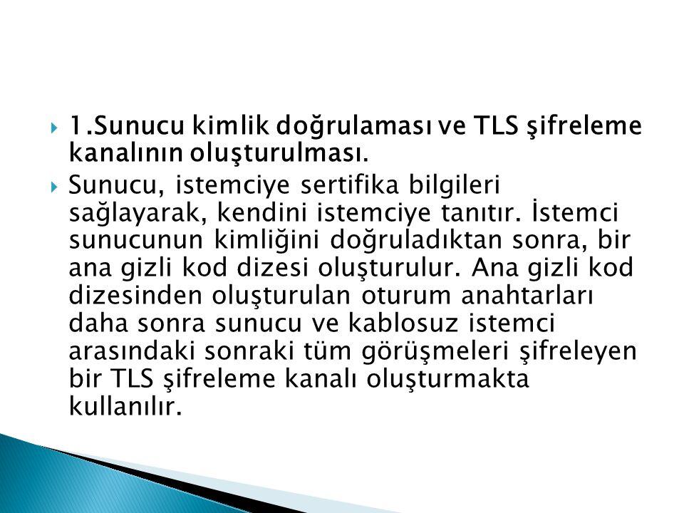 1.Sunucu kimlik doğrulaması ve TLS şifreleme kanalının oluşturulması.