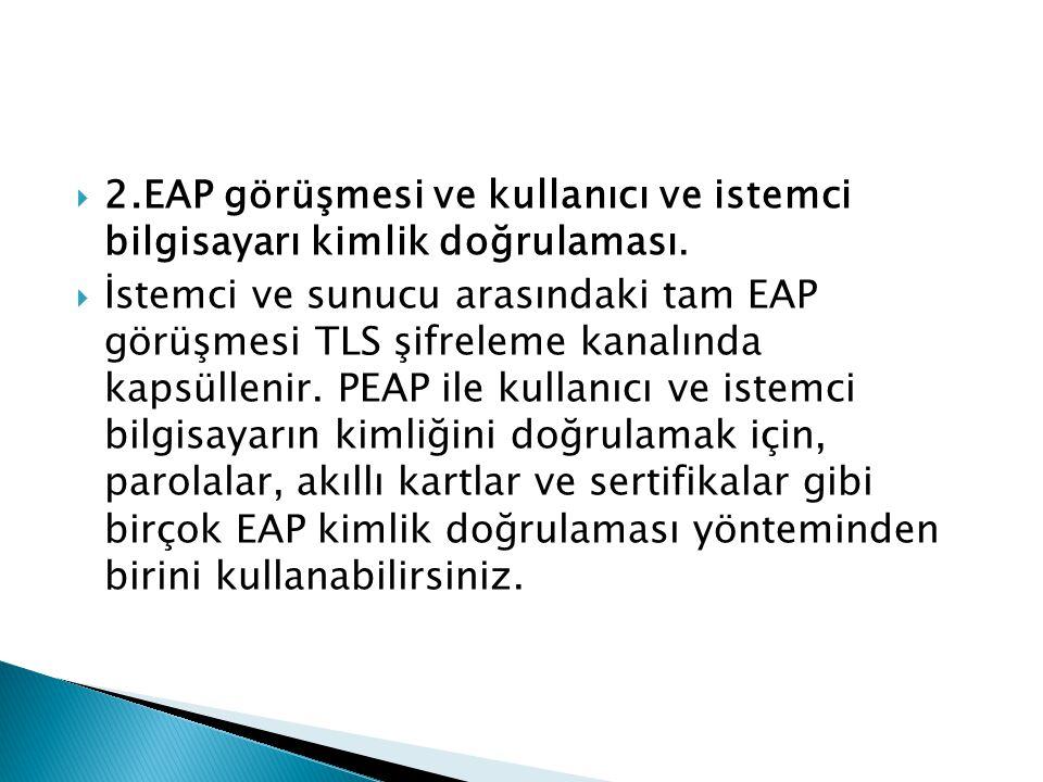 2.EAP görüşmesi ve kullanıcı ve istemci bilgisayarı kimlik doğrulaması.