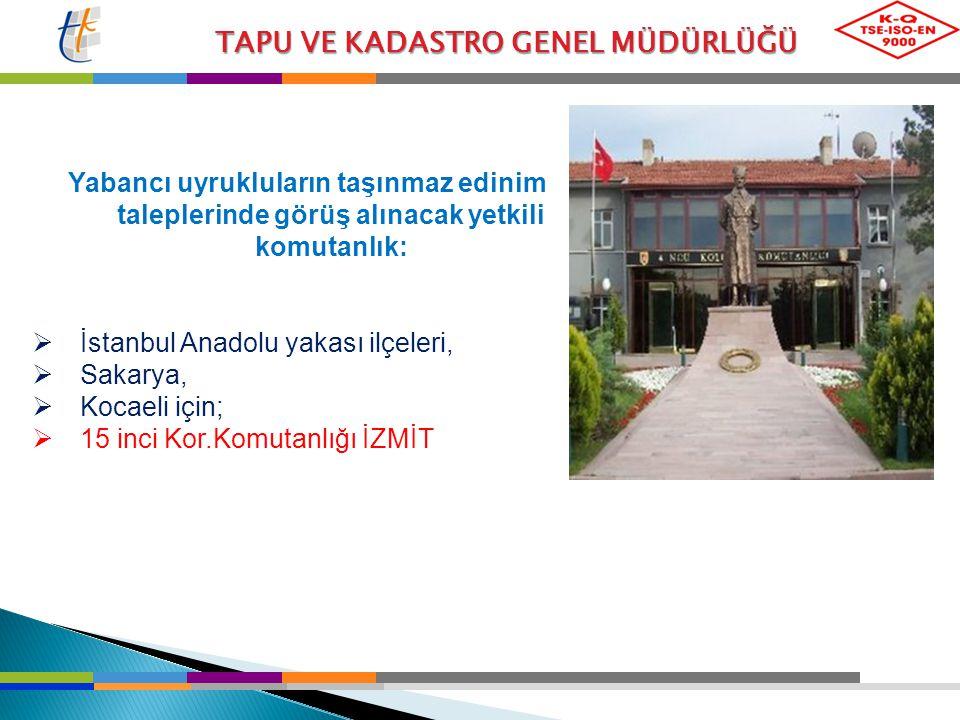 İstanbul Anadolu yakası ilçeleri, Sakarya, Kocaeli için;