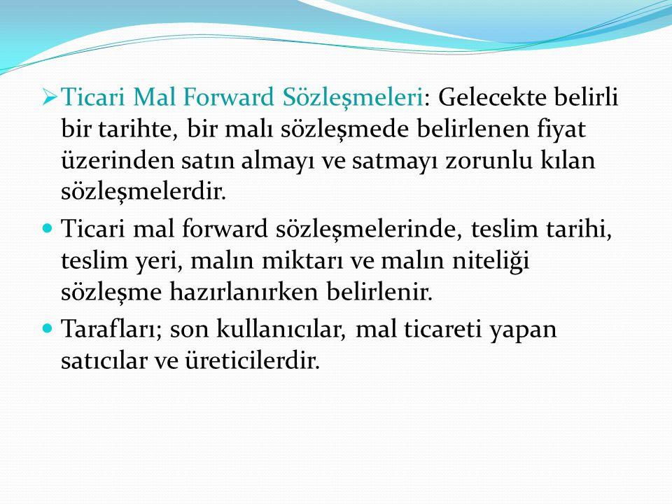 Ticari Mal Forward Sözleşmeleri: Gelecekte belirli bir tarihte, bir malı sözleşmede belirlenen fiyat üzerinden satın almayı ve satmayı zorunlu kılan sözleşmelerdir.