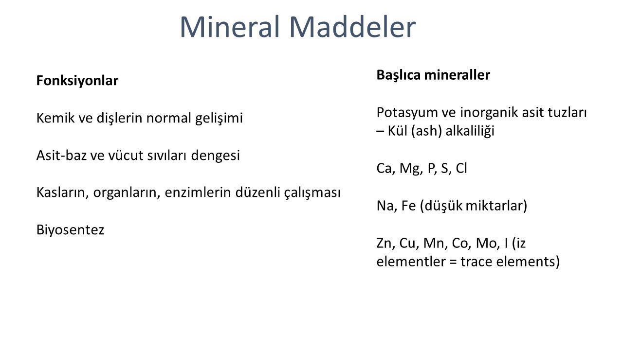 Mineral Maddeler Başlıca mineraller Fonksiyonlar