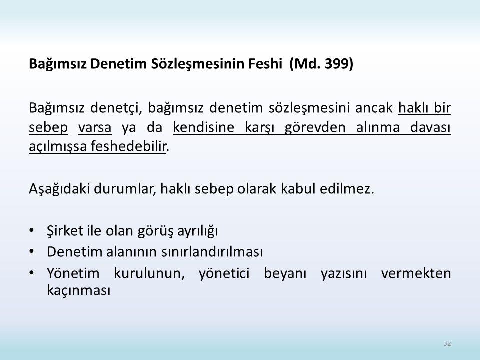 Bağımsız Denetim Sözleşmesinin Feshi (Md. 399)