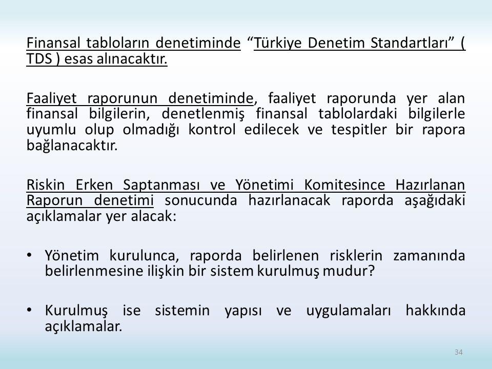 Finansal tabloların denetiminde Türkiye Denetim Standartları ( TDS ) esas alınacaktır.