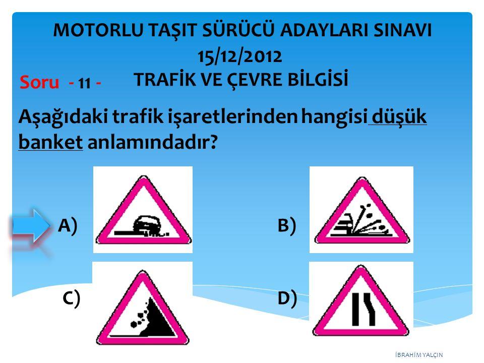Aşağıdaki trafik işaretlerinden hangisi düşük banket anlamındadır
