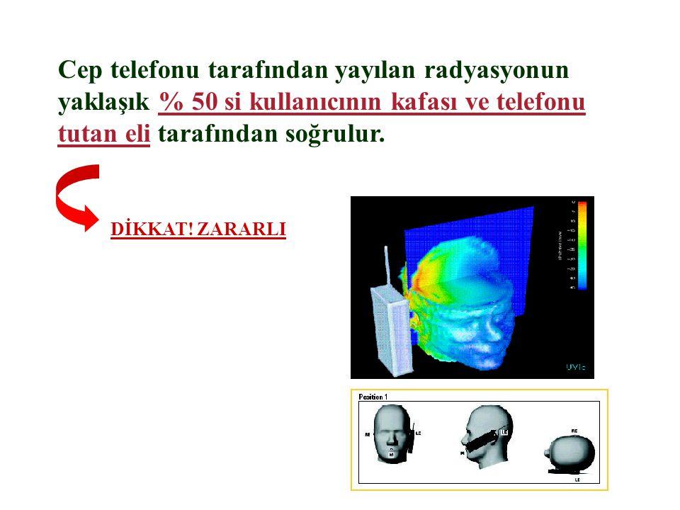 Cep telefonu tarafından yayılan radyasyonun yaklaşık % 50 si kullanıcının kafası ve telefonu tutan eli tarafından soğrulur.