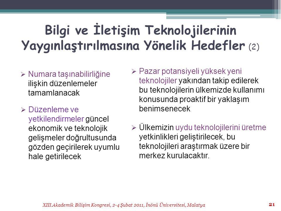 Bilgi ve İletişim Teknolojilerinin Yaygınlaştırılmasına Yönelik Hedefler (2)