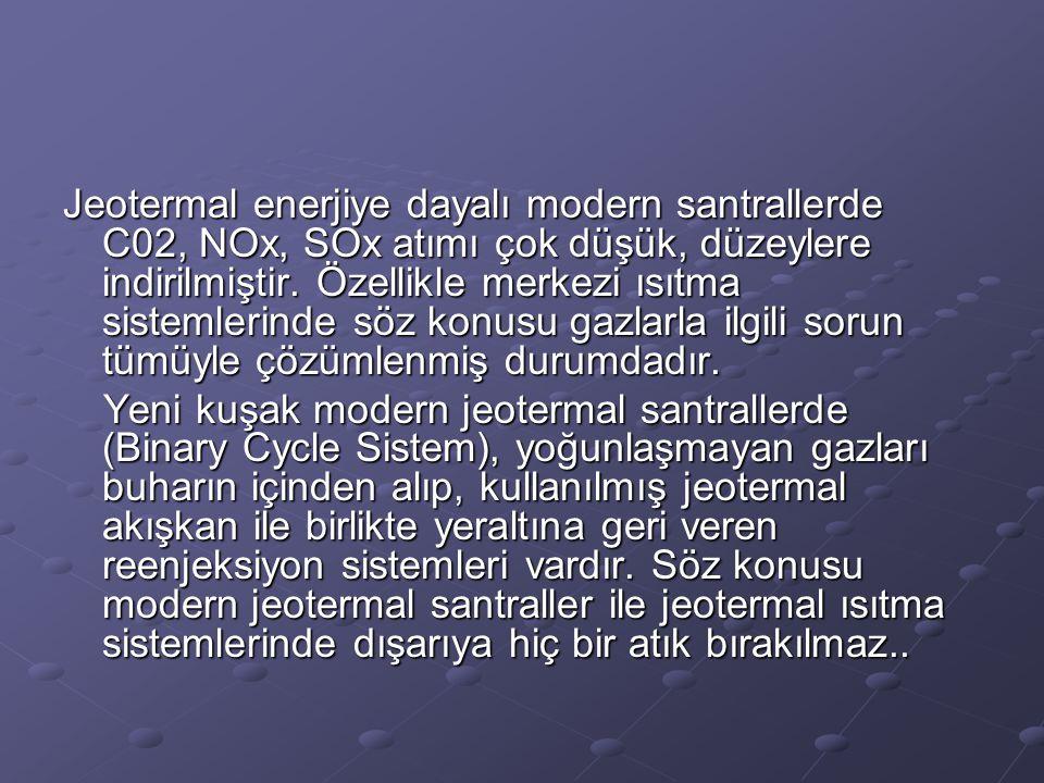 Jeotermal enerjiye dayalı modern santrallerde C02, NOx, SOx atımı çok düşük, düzeylere indirilmiştir. Özellikle merkezi ısıtma sistemlerinde söz konusu gazlarla ilgili sorun tümüyle çözümlenmiş durumdadır.