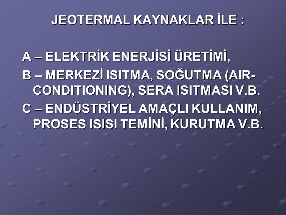 JEOTERMAL KAYNAKLAR İLE :