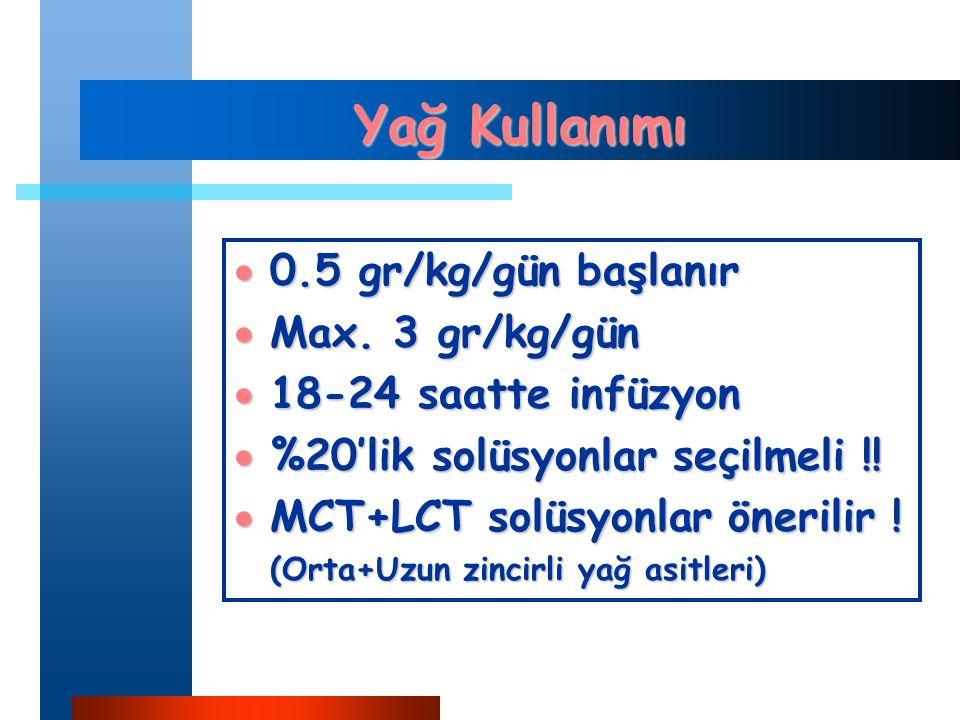 Yağ Kullanımı 0.5 gr/kg/gün başlanır Max. 3 gr/kg/gün