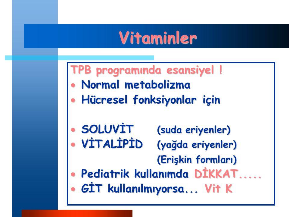 Vitaminler TPB programında esansiyel ! Normal metabolizma