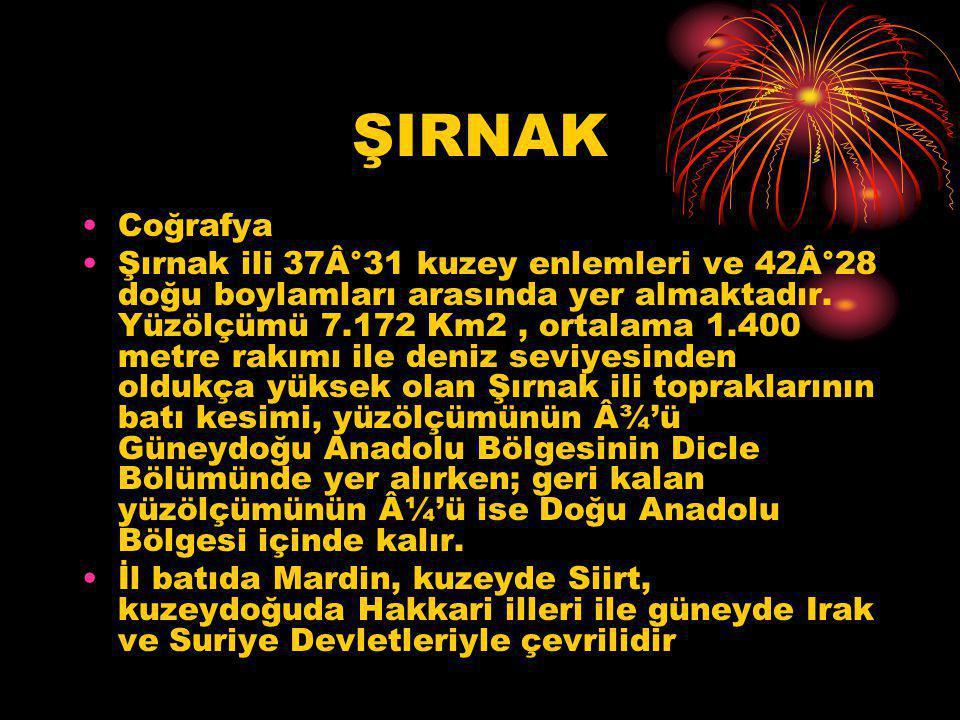 ŞIRNAK Coğrafya.