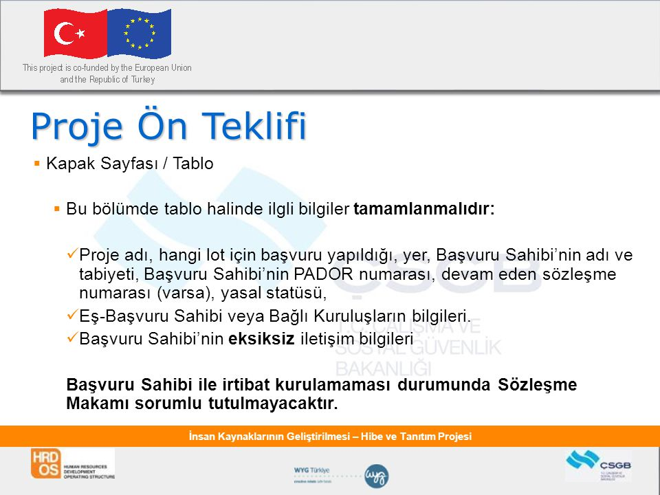Proje Ön Teklifi Kapak Sayfası / Tablo