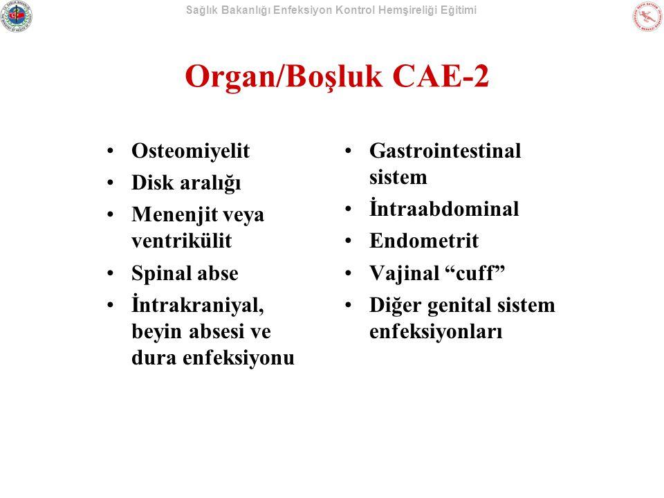 Organ/Boşluk CAE-2 Osteomiyelit Disk aralığı Menenjit veya ventrikülit