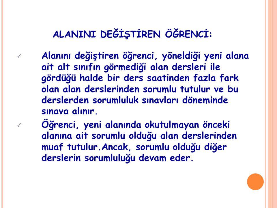 ALANINI DEĞİŞTİREN ÖĞRENCİ: