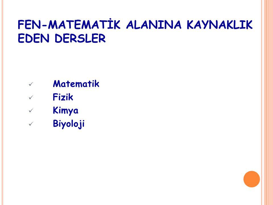 FEN-MATEMATİK ALANINA KAYNAKLIK EDEN DERSLER