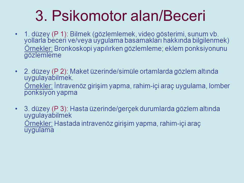 3. Psikomotor alan/Beceri