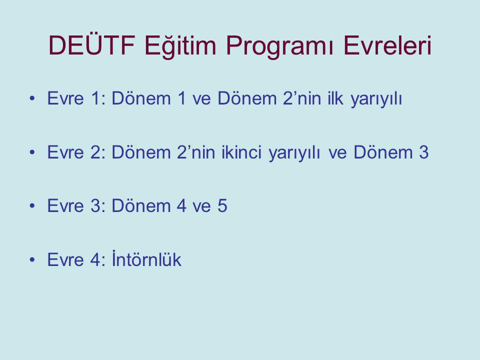DEÜTF Eğitim Programı Evreleri