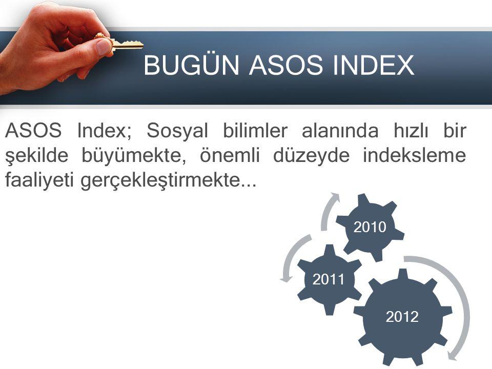 BUGÜN ASOS INDEX ASOS Index; Sosyal bilimler alanında hızlı bir şekilde büyümekte, önemli düzeyde indeksleme faaliyeti gerçekleştirmekte...