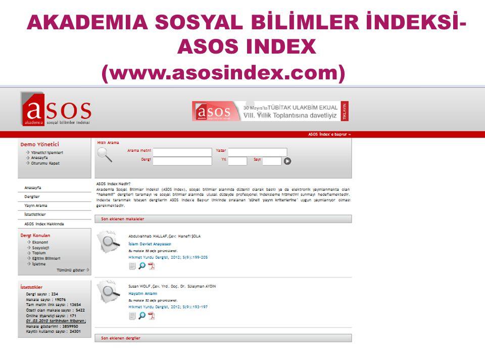 AKADEMIA SOSYAL BİLİMLER İNDEKSİ-ASOS INDEX