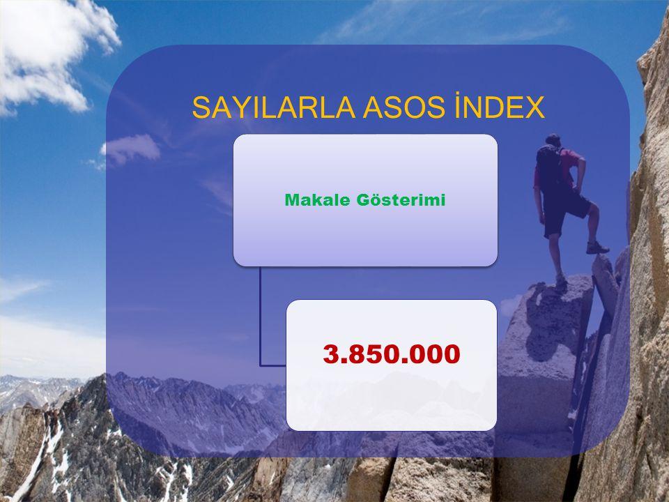 SAYILARLA ASOS İNDEX Makale Gösterimi 3.850.000